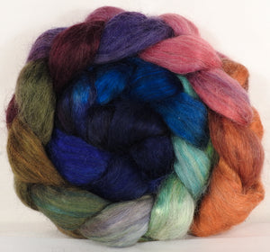 Hand-dyed wensleydale/ mulberry silk roving ( 65/35) -Muted Jazzberry - ( 5 oz.)