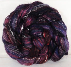 Batt in a Braid #31-Banshee -( 6.2 oz. ) - Polwarth/ Mulberry Silk / Baby Alpaca / Rainbow Firestar/ Tencel( 40/25/15/10/10) - Inglenook Fibers