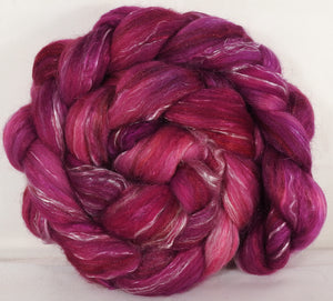 Batt in a Braid #31- Redbud-( 5.3 oz. ) - Polwarth/ Mulberry Silk / Baby Alpaca / Rainbow Firestar/ Tencel( 40/25/15/10/10) - Inglenook Fibers