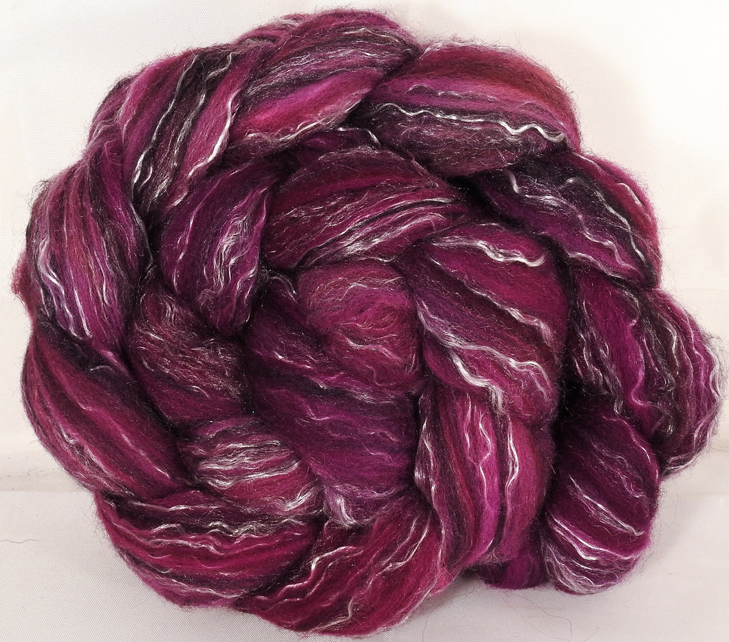 Batt in a Braid #2 - Redbud - (5.1 oz.)Polwarth/ Manx / Black tussah silk/ tencel (40/20/20/20)