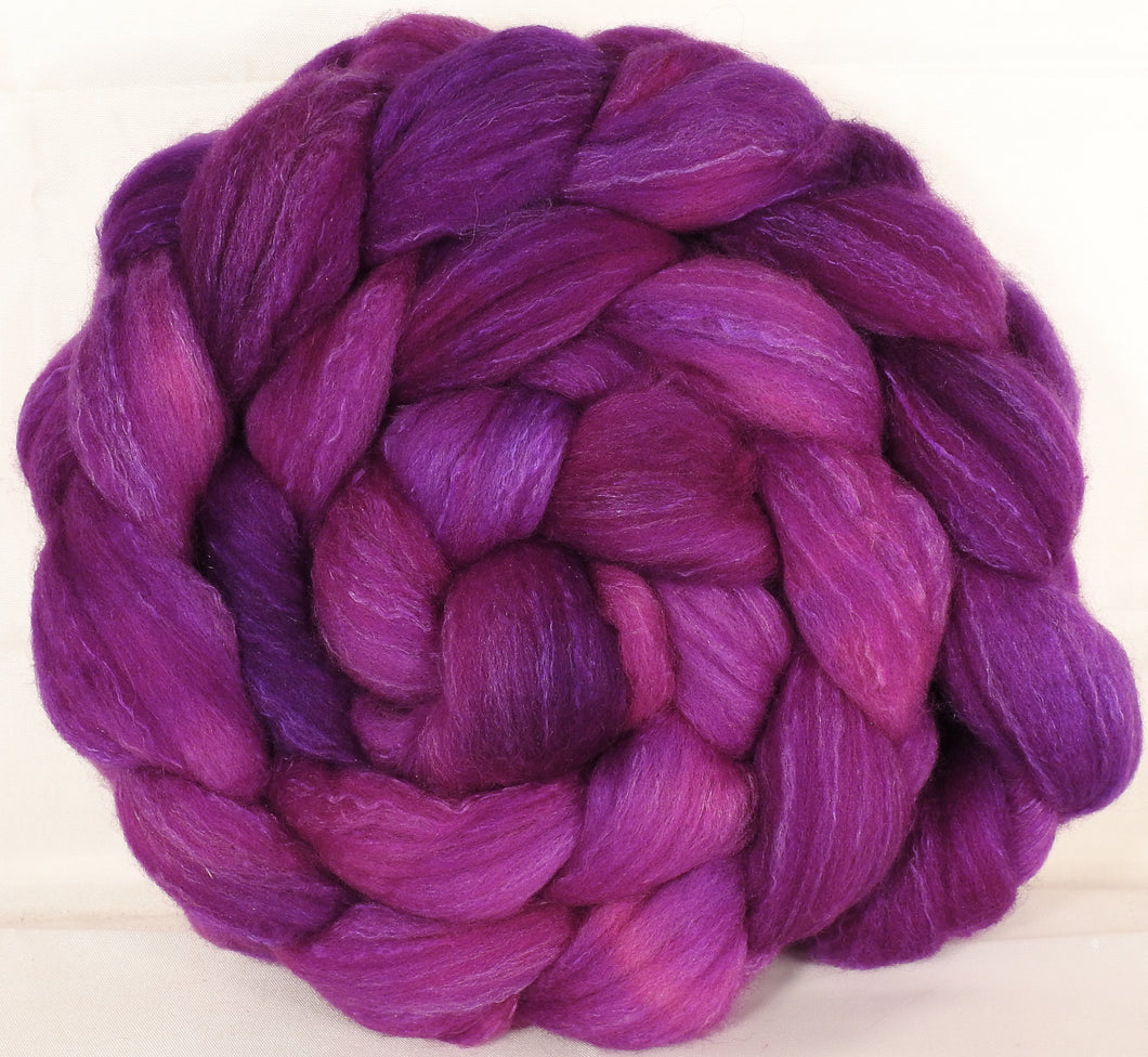 Hand dyed top for spinning -Fuchsia - (5.3 oz.) Organic polwarth /Tussah silk (80/20)