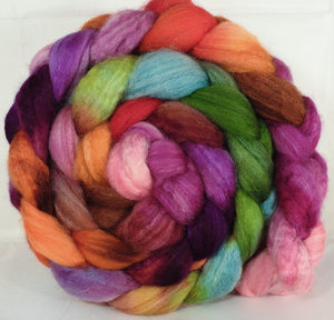 Batt in a Braid #36 -Zinnias ( 5.2 oz) - Sw BFL / BFL / tussah Silk ( 40/40/20 ) - Inglenook Fibers
