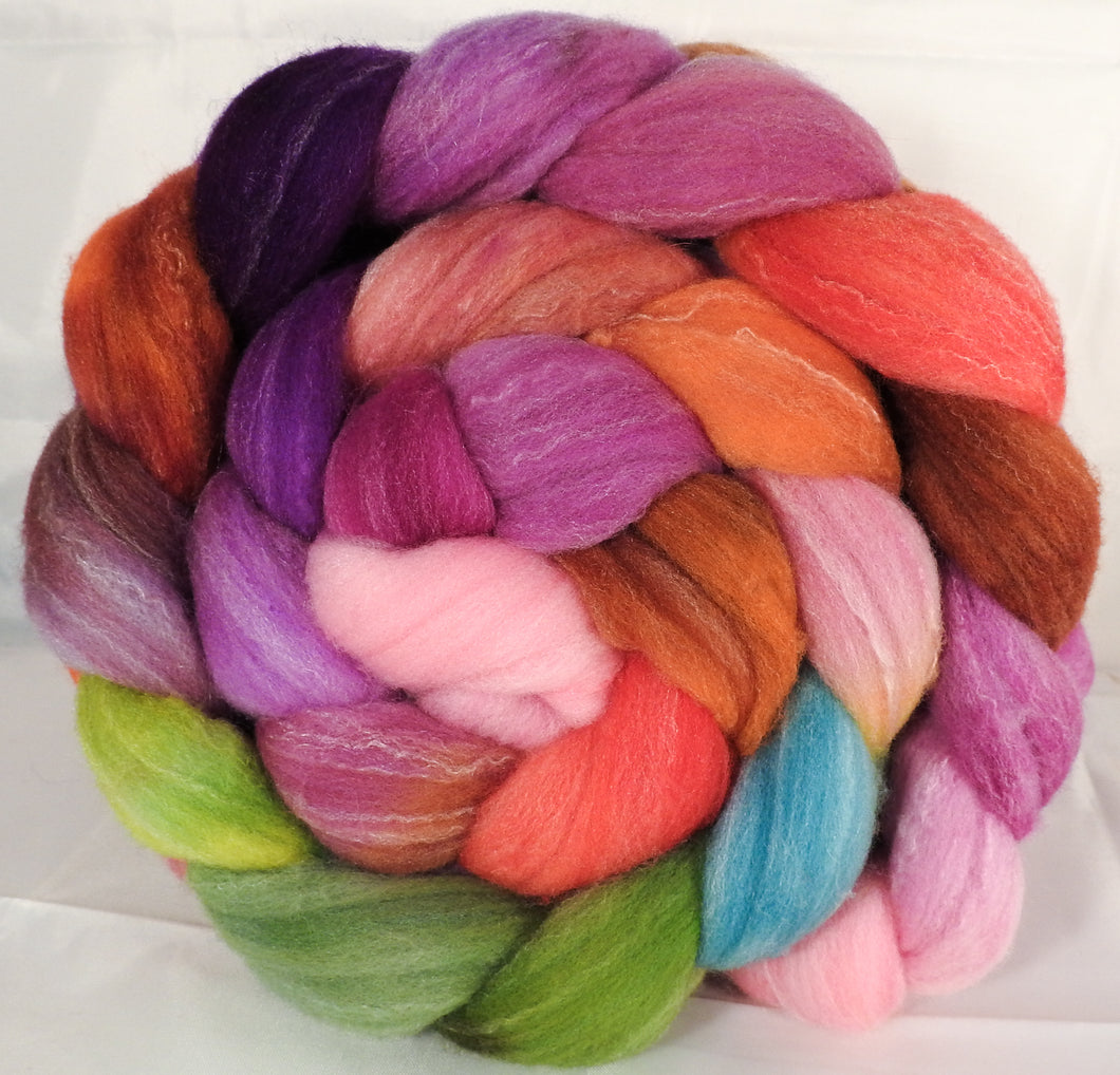 Hand dyed top for spinning -Zinnias- (5 oz.) Targhee/silk/ bamboo ( 80/10/10) - Inglenook Fibers