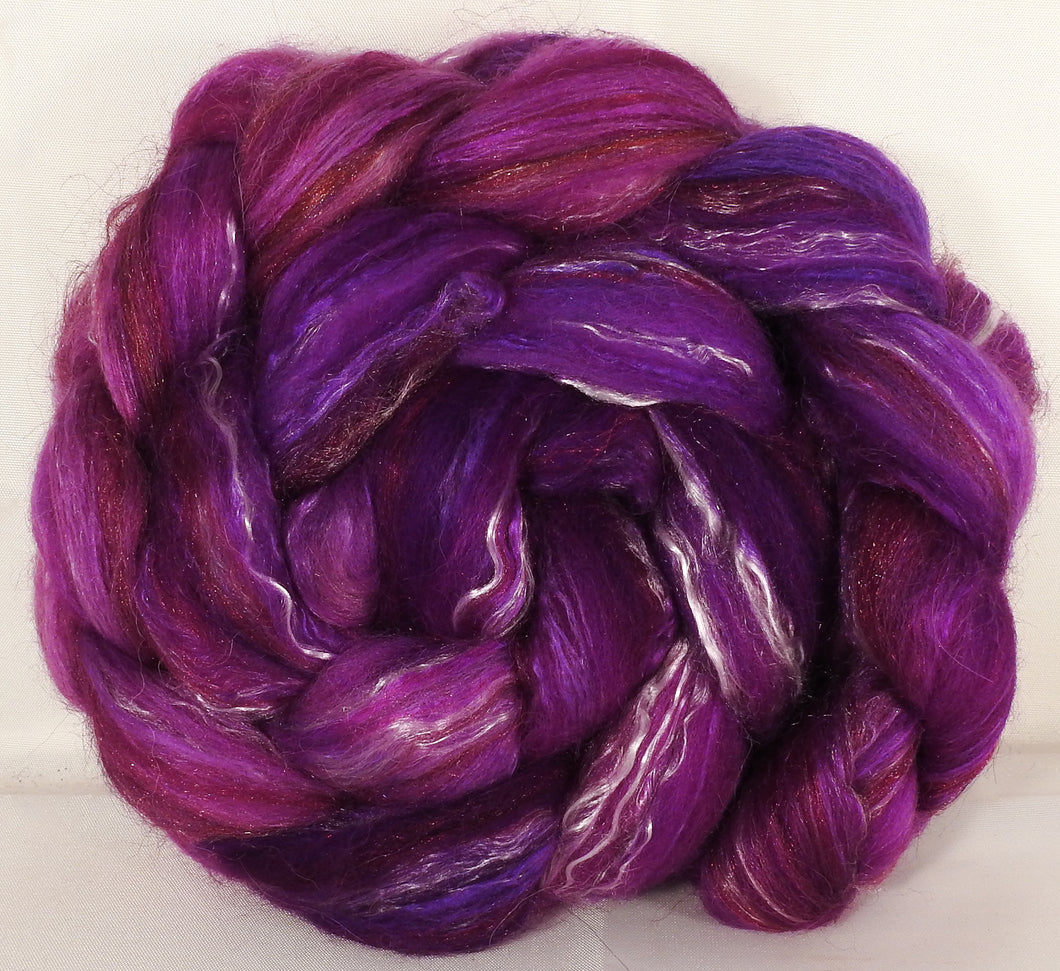 Batt in a Braid #31- Fuchsia -( 5.3 oz. ) - Polwarth/ Mulberry Silk / Baby Alpaca / Rainbow Firestar/ Tencel( 40/25/15/10/10) - Inglenook Fibers