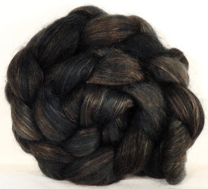 Wensleydale/ mulberry silk roving ( 65/35) -Soot - (5.2 oz.)