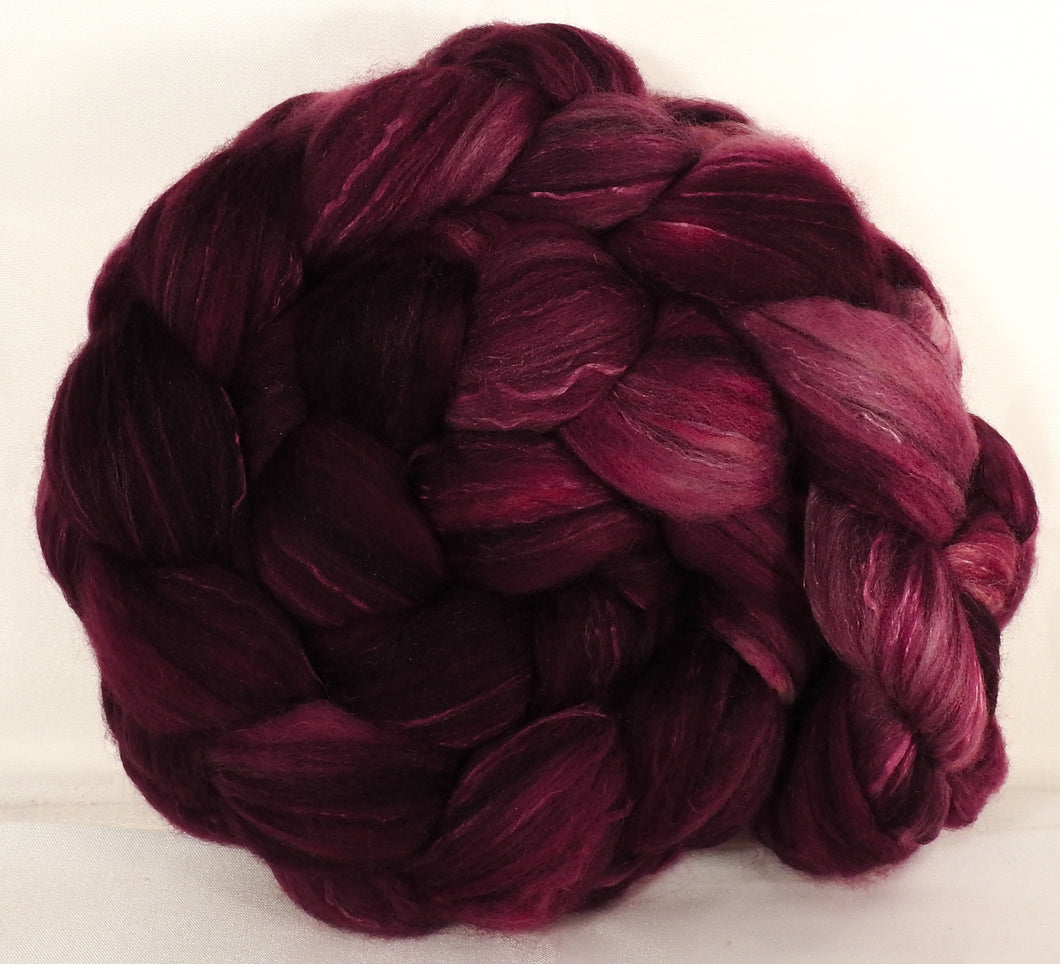 Batt in a Braid #5 - Black Cherry -(5.3 oz.) Merino/ Camel/ silk/ faux cashmere/ firestar (25/25/25/12/12) - Inglenook Fibers