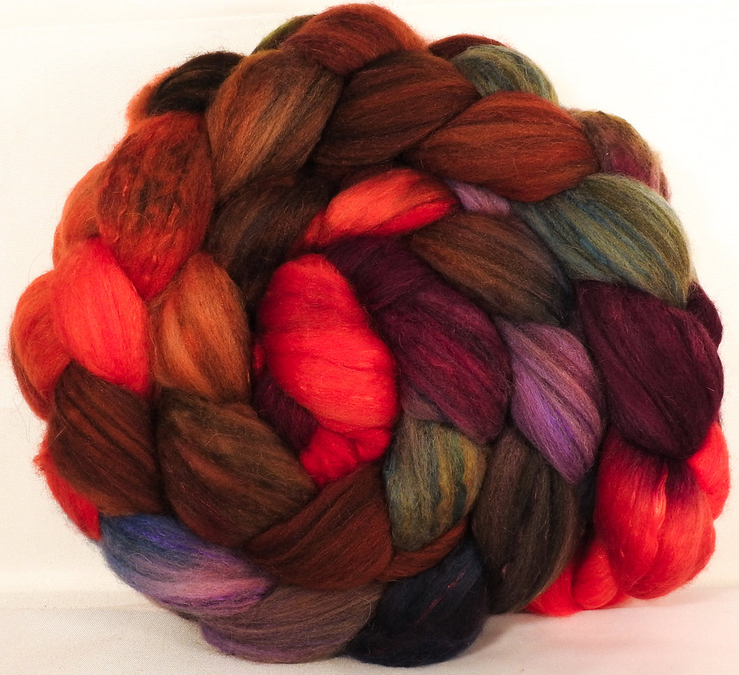 Batt in a Braid #5 -Gnomes -(6.1 oz.) Merino/ Camel/ silk/ faux cashmere/ firestar (25/25/25/12/12) - Inglenook Fibers
