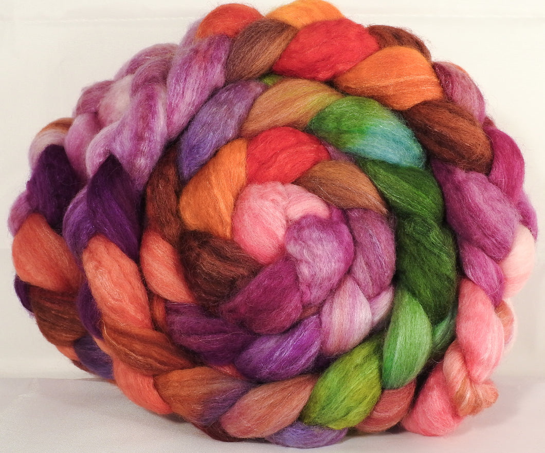 Batt in a Braid #36 - Zinnias - (5.2 oz.) Sw BFL / BFL / tussah Silk ( 40/40/20 )