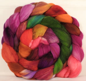 Batt in a Braid #34 - Zinnias - (5.4 oz.) Sw Merino ( 18.5 mic) / Camel / Nylon ( 70/15/15 ) - Inglenook Fibers