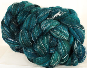 Batt in a Braid #32-Fairy Pools-(5.2 oz)  Manx Loaghtan/ Wht Bfl / Tussah Silk/ Flax( 30/30/30/10)