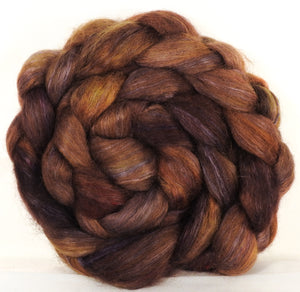 Wensleydale/ mulberry silk roving ( 65/35) -Tree Trunk - (5.1 oz.) - Inglenook Fibers