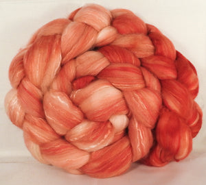 Batt in a Braid #5 - Salmon -(5.4 oz.) Merino/ Camel/ silk/ faux cashmere/ firestar (25/25/25/12/12) - Inglenook Fibers
