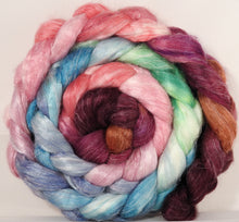 Tussah Silk / flax roving (65/35)- Outback in Bloom- 5.1 oz. - Inglenook Fibers