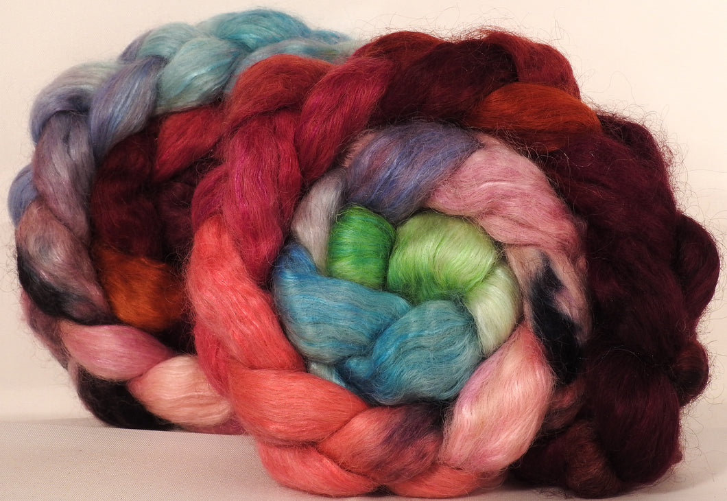 Wensleydale/ mulberry silk roving (65/35) - Outback in Bloom - (5.2 oz.)