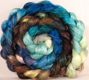 Tussah Silk / flax roving (65/35)- Sea Turtle - Inglenook Fibers