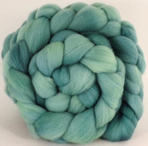Hand dyed top for spinning - Spearmint - Organic Polwarth