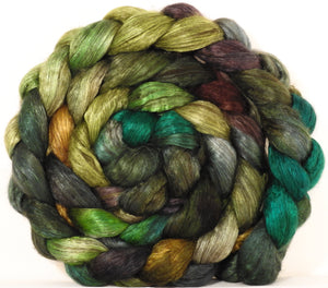 Yak/ mulberry silk top -Mossy- (4.1 oz.) yak /silk ( 50/50)