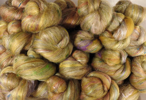 Sticklebatts- Stansborough Grey, merino, alpaca, silk, rose fiber, silk noil, angelina (3.85 oz.)