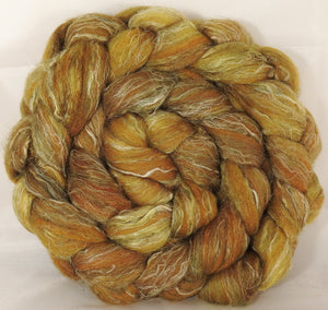 Batt in a Braid #29 -Old Gold (5.3 oz.) Rambouillet / Tussah / Flax (40/40/20) - Inglenook Fibers