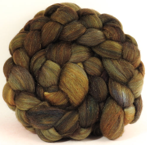 Bronze - Batt in a Braid #53- YAK/ Tussah silk/ Superfine Merino/Gold Stellina(30/30/30/10)