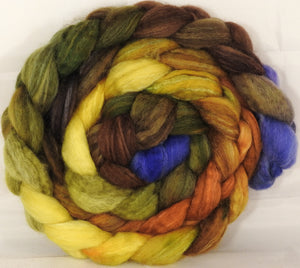 Batt in a Braid #36 - Tuscany - (6.1 oz.) Sw BFL / BFL / tussah Silk ( 40/40/20 ) - Inglenook Fibers