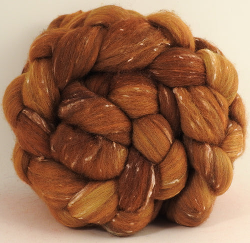 Batt in a Braid #42 -Strong Honey -(3.4 oz)  Polwarth/ Tweed Blend / Peduncle&Tussah Silk( 50/25/25)