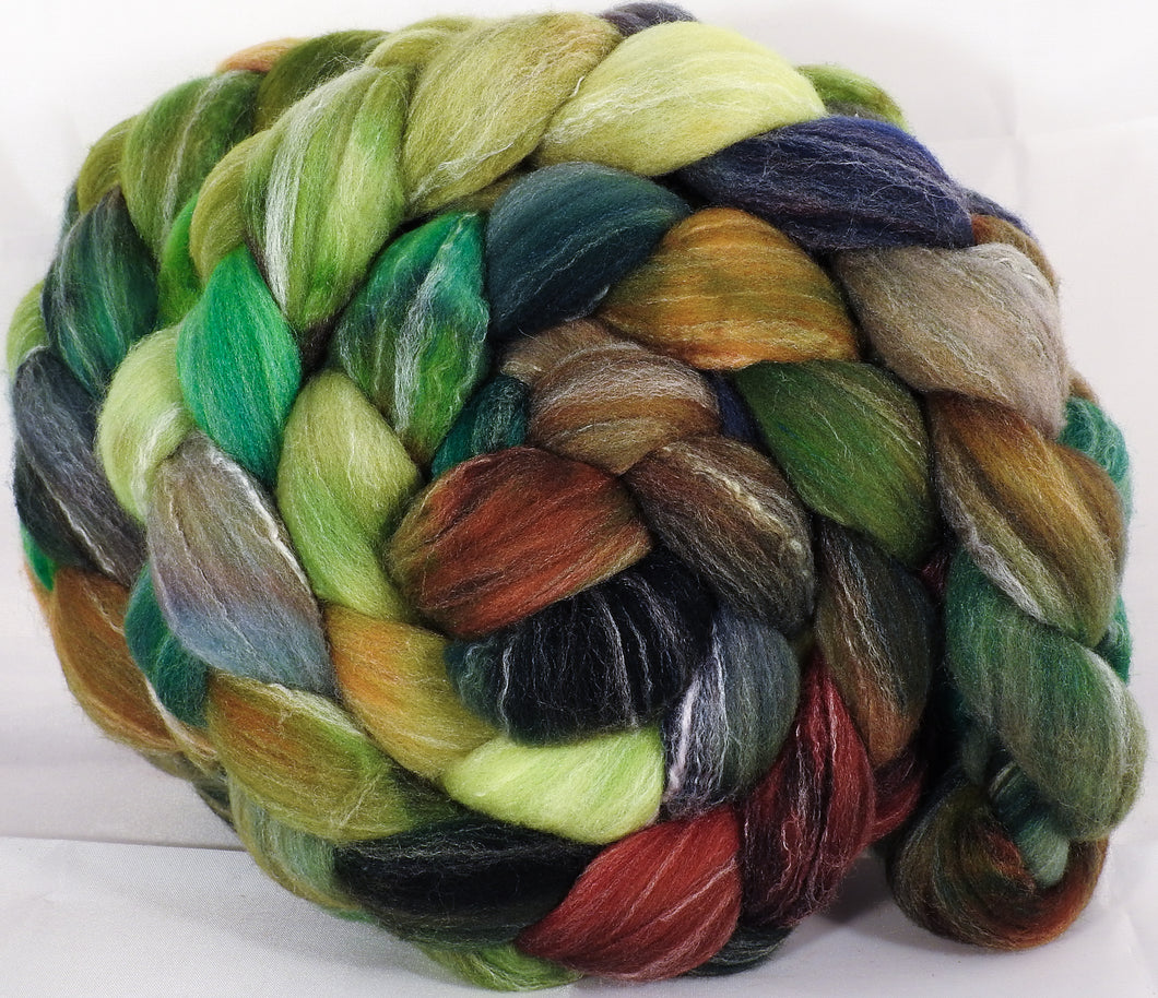 Hand dyed top for spinning -Mossy- (5.2 oz.) Targhee/silk/ bamboo ( 80/10/10) - Inglenook Fibers
