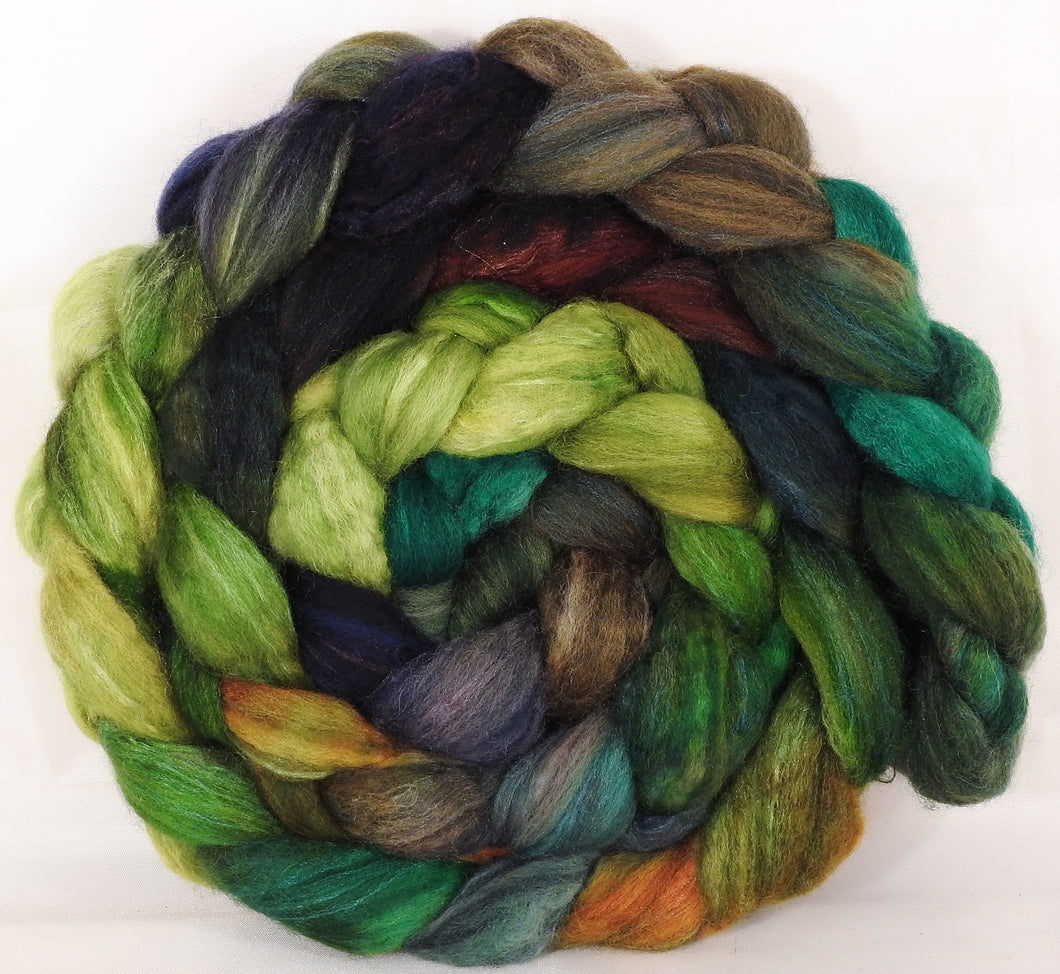 Batt in a Braid #36 - Mossy - (6.2 oz.) Sw BFL / BFL / tussah Silk ( 40/40/20 )