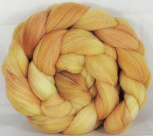 Hand dyed top for spinning -Butter- (4.2 oz.) Targhee/silk/ bamboo ( 80/10/10)