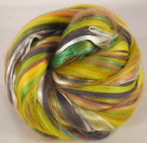 Gingko- Custom Blended Top- Superfine Merino/ Mulberry Silk /De-haired Baby Camel / Tencel/  Rainbow Trilobal Firestar (40/25/15/10/10) - Inglenook Fibers