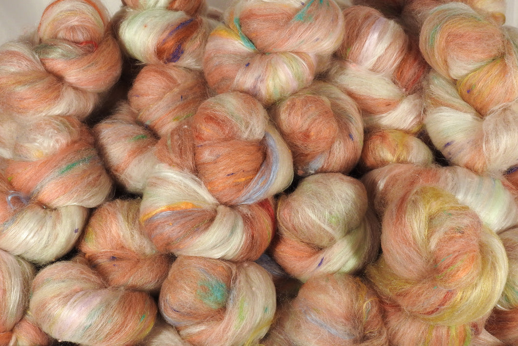 Cameo - Sticklebatts (3.9 oz.) - 30% Local Border Leicester fleece; merino, alpaca, pearl fiber, silk, bamboo, silk noil - Inglenook Fibers