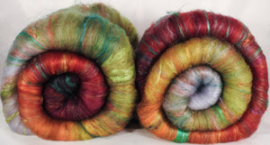 Turning Leaf - Roly Poly batts- 30% Bond fleece, merino, rambouillet, silk, bamboo, silk noil (angelina in the sparkle batts) - Inglenook Fibers