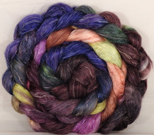 Tussah Silk / flax roving (65/35)- Fresh Fig - 5.2 oz. - Inglenook Fibers