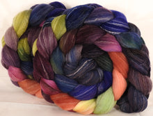 Hand dyed top for spinning -Fresh Fig- (5.25 oz.) Targhee/silk/ bamboo ( 80/10/10) - Inglenook Fibers