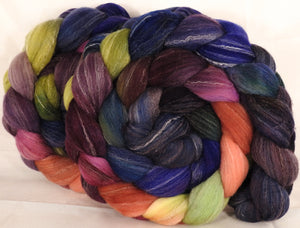 Hand dyed top for spinning -Fresh Fig- (5.25 oz.) Targhee/silk/ bamboo ( 80/10/10)