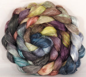 Tussah Silk / flax roving (65/35)- Pebble Mosaic - 5 oz.