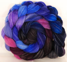 Hand dyed top for spinning -Night Light- (5.15 oz.) Targhee/silk/ bamboo ( 80/10/10) - Inglenook Fibers