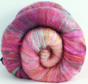 Pink Horizon (3.6 oz) - Roly-Poly Batts- 30% Bond Fleece, Superfine merino,  Polwarth, silk, bamboo, silk noil, angelina