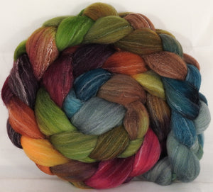 Hand dyed top for spinning -Farm Stand- (5.2 oz.) Targhee/silk/ bamboo ( 80/10/10) - Inglenook Fibers