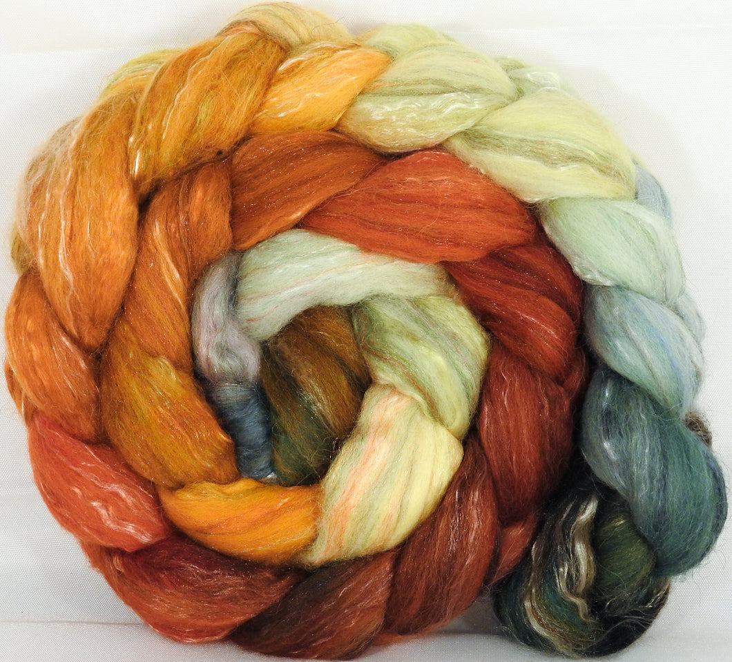 Batt in a Braid #31- Gourds -( 5.1 oz. ) - Polwarth/ Mulberry Silk / Baby Alpaca / Rainbow Firestar/ Tencel( 40/25/15/10/10)
