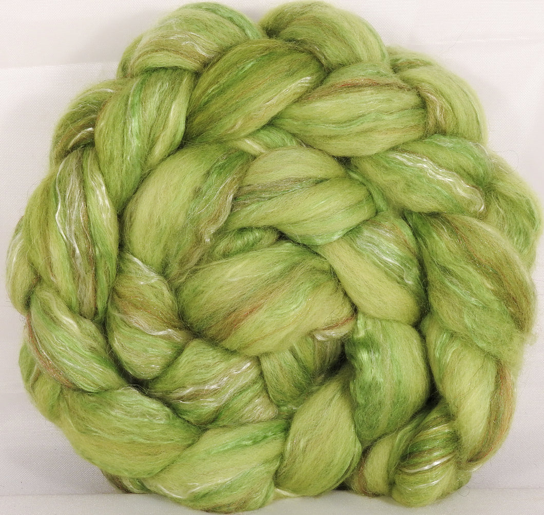 Batt in a Braid #31-Sour Apple -( 5.3 oz. ) - Polwarth/ Mulberry Silk / Baby Alpaca / Rainbow Firestar/ Tencel( 40/25/15/10/10)