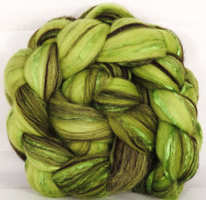 Batt in a Braid #37- Sour Apple ( 5.1 oz) - Polwarth / Grey Baby Alpaca /Brown Corriedale/ Mulberry Silk ( 40/20/20/20 ) - Inglenook Fibers