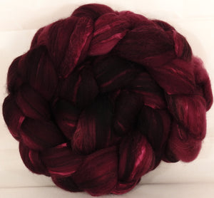 Batt in a Braid #37-Black Cherry( 5.3 oz) - Polwarth / Grey Baby Alpaca /Brown Corriedale/ Mulberry Silk ( 40/20/20/20 ) - Inglenook Fibers