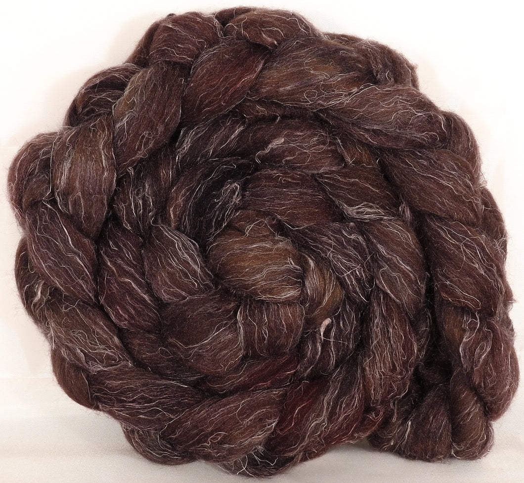 Batt in a Braid #29 -Walnut (5.2 oz.) Rambouillet / Tussah / Flax (40/40/20) - Inglenook Fibers