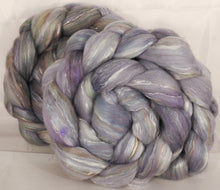 Batt in a Braid #31- Mithril- Polwarth/ Mulberry Silk / Baby Alpaca / Rainbow Firestar/ Tencel( 40/25/15/10/10)