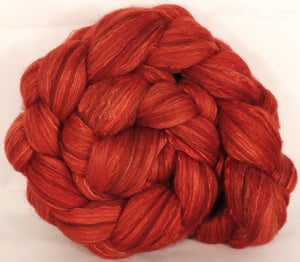 Batt in a Braid #7 - Superman -(5.2 oz.) Polwarth/ Manx / Mulberry silk/ Firestar (30/30/30/10) - Inglenook Fibers