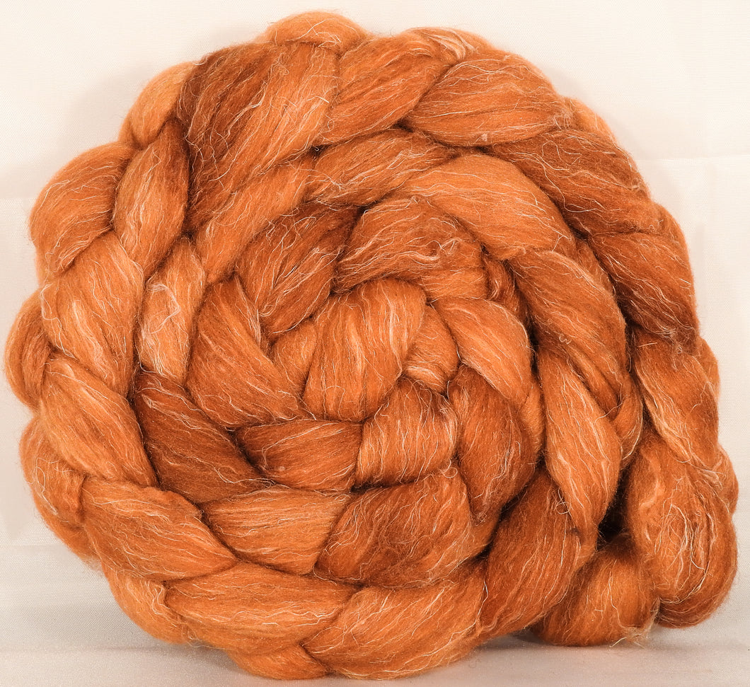 Batt in a Braid #29 -Pumpkin(5.3 oz.) Rambouillet / Tussah / Flax (40/40/20) - Inglenook Fibers