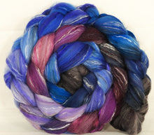 Batt in a Braid #31-Night Light-( 6.2 oz. ) - Polwarth/ Mulberry Silk / Baby Alpaca / Rainbow Firestar/ Tencel( 40/25/15/10/10)