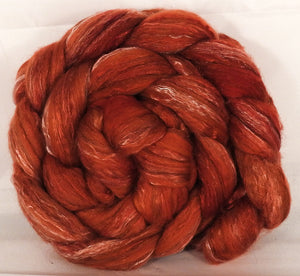Batt in a Braid #31- Persimmon-( 5.1 oz. ) - Polwarth/ Mulberry Silk / Baby Alpaca / Rainbow Firestar/ Tencel( 40/25/15/10/10) - Inglenook Fibers