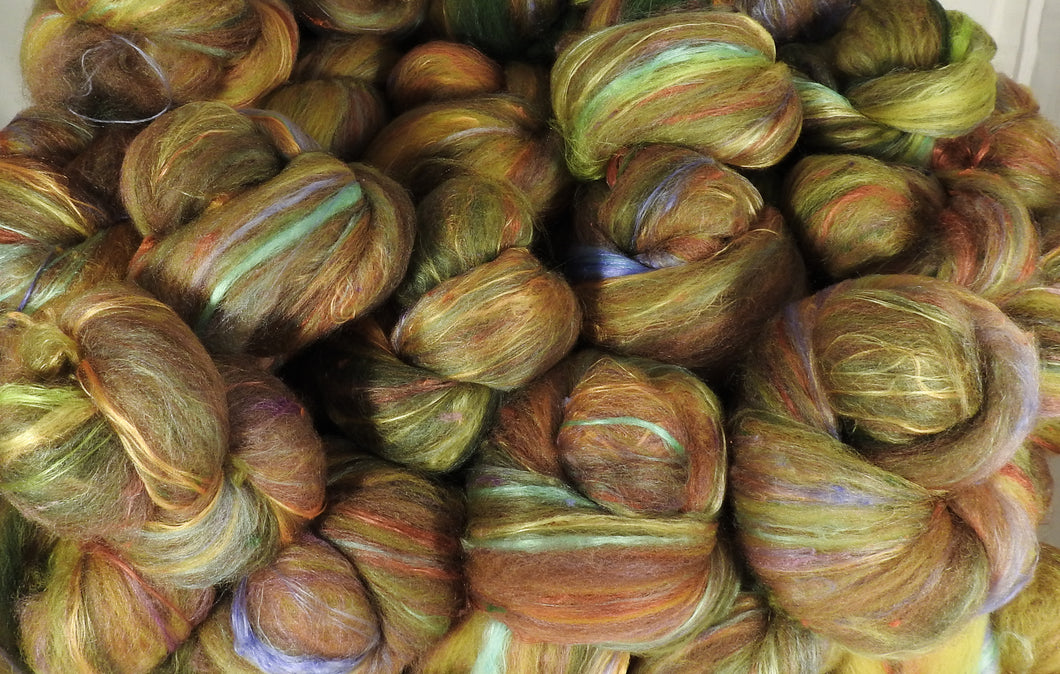 Spanish Olives - Sticklebatts - 4.6 oz. 30% Bond fleece; merino, silk, bamboo, silk noil, (angelina in sparkle ones) - Inglenook Fibers
